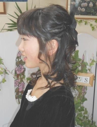 卒業式の髪型の編み込み&ハーフアップ