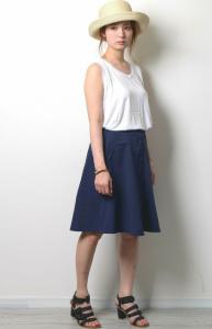 白×デニムスカート